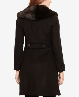 Lauren Ralph Lauren Plus Size Faux-Fur-Collar Fit & Flare Coat
