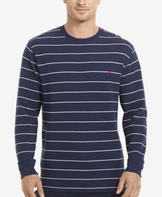 Polo Ralph Lauren Mens Big & Tall Stripe Waffle-Knit Crew-Neck Thermal Top