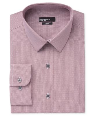 Bar III Mens Slim-Fit Wine Dot-Check Dress Shirt