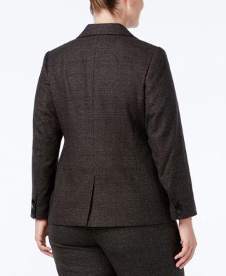 Calvin Klein Plus Size Plaid One-Butto..
