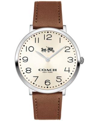 COACH Women's Slim Easton Brown Leather Strap Watch 35mm 14502682