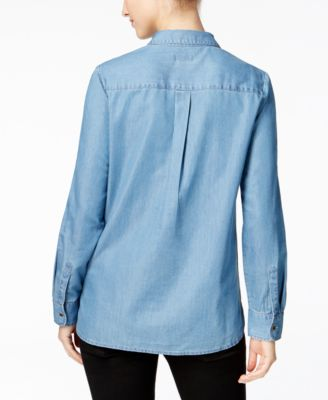Charter Club Lace-Up Denim Top