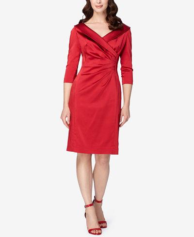 Tahari Asl Portrait Collar Wrap Sheath Dress Dresses