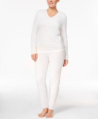 Cuddl Duds Plus Size Softwear Lace-Trim Top & Leggings