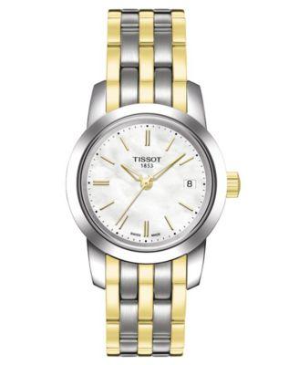 Tissot Watch Womens Swiss Classic Dream Two Tone Stainless Steel Bracelet T0332102211100