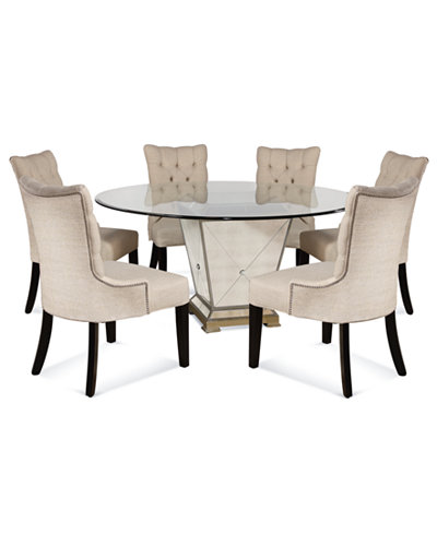 Marais Dining Room Furniture 7 Piece Set 60 Mirrored Dining Table And 6 Chairs Furniture