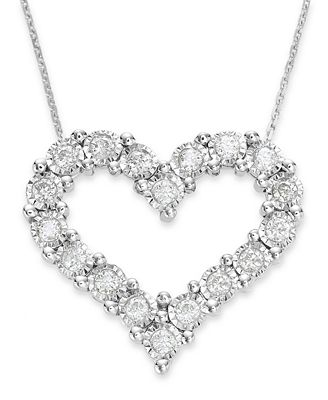 Trumiracle 174 Diamond Heart Pendant In 10k White Gold 1 2 Ct T W Necklaces Jewelry