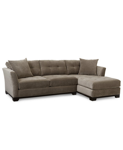 Elliot fabric microfiber 2 pc chaise sectional sofa for 2 piece sectional with chaise lounge