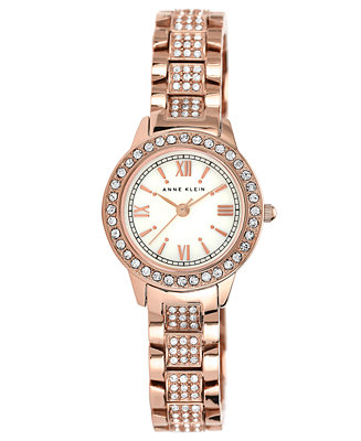 Anne klein women 39 s pave set rose gold tone bracelet watch 26mm ak 1492mprg watches jewelry for Anne klein rose gold watch set