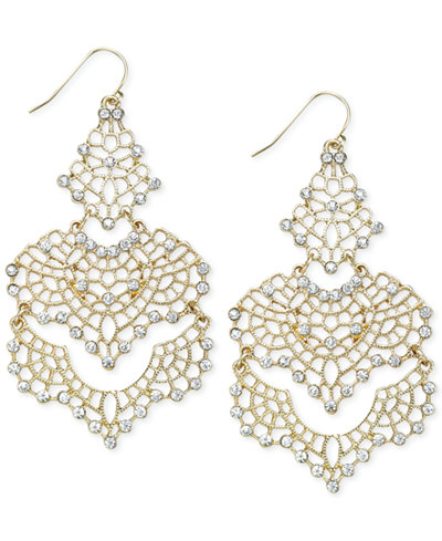 INC International Concepts Gold-Tone Crystal Lace Chandelier Earrings