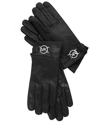 michael michael kors leather with logo gloves with touch. Black Bedroom Furniture Sets. Home Design Ideas