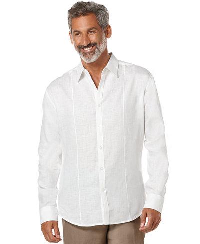 Cubavera Tucked Long Sleeve Linen Shirt Casual Button