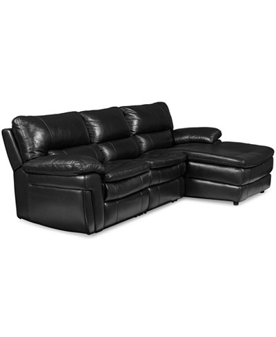 Xander leather 3 pc sofa chaise sectional with 2 power for 3pc sectional with chaise