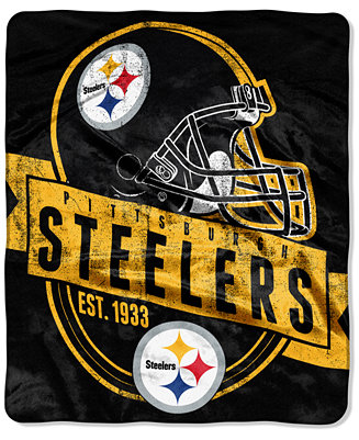 Northwest Company Pittsburgh Steelers Grand Stand Plush Throw Blanket Blankets Throws Bed