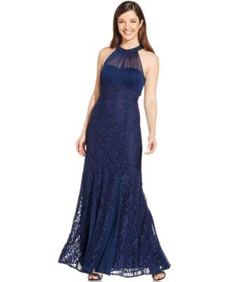 Nightway Metallic Lace Halter Gown