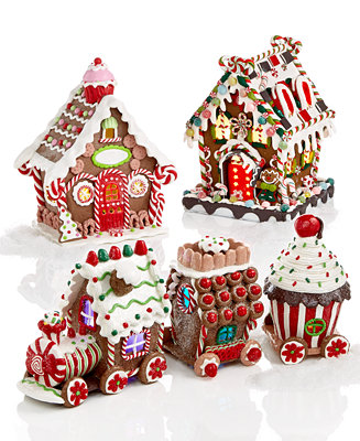Kurt Adler Lighted Gingerbread House Collection Holiday