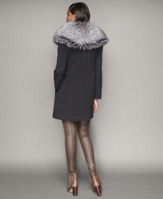 The Fur Vault Fox-Fur-Collar Wool Walker Coat