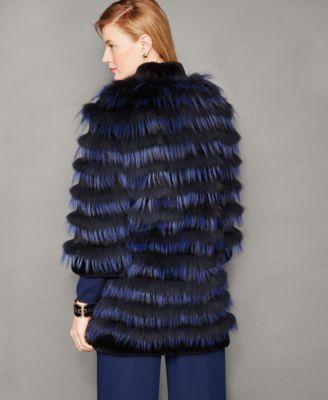 The Fur Vault Striped Fox Fur Jacket