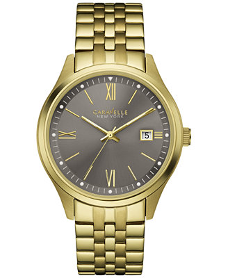 caravelle new york by bulova s gold tone stainless