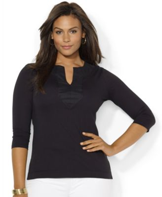 Lauren Ralph Lauren Plus Size Split-Neck Tunic