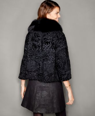 The Fur Vault Fox-Fur-Trim Persian Lamb Fur Jacket