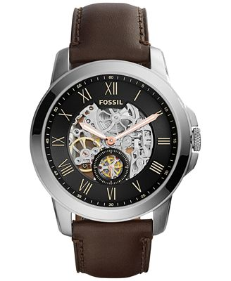 fossil s automatic grant brown leather