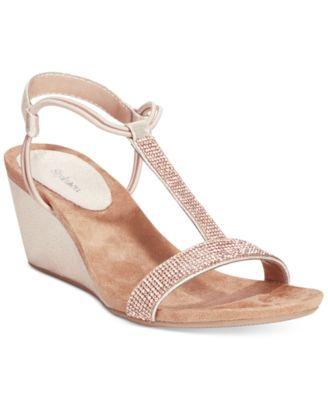 Style&co. Mulan 2 Embellished Evening Wedge Sandals