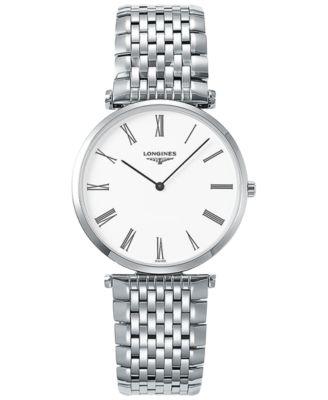 Longines Mens Swiss La Grande Classique De Longines Stainless Steel Bracelet Watch 36mm L47554116