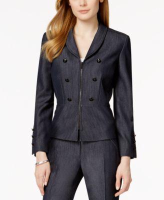 Tahari ASL Petite Denim Zip-Front Peplum Jacket