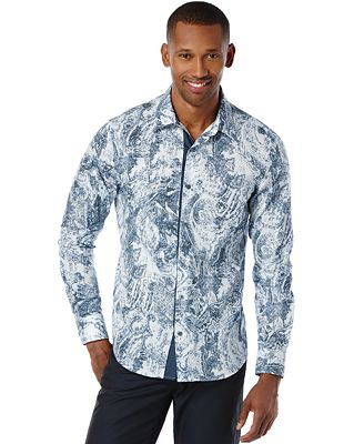 Perry ellis men 39 s big and tall long sleeve paisley print for Big and tall casual shirts