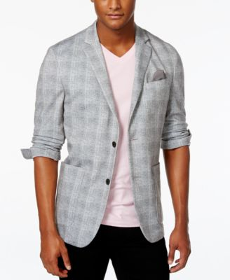 Vince Camuto Gunmetal Plaid Stretch Blazer