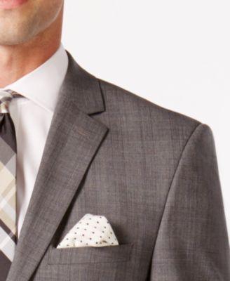 Vince Camuto Mens Grey Plaid with Orange Deco Windowpane Slim Fit Suit