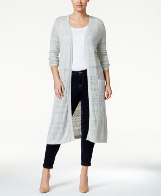 Belldini Plus Size Pointelle-Knit Duster Cardigan