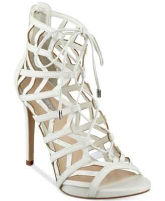 GUESS Womens Anasia Lace-Up Caged Gladiator Sandals