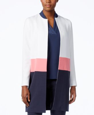 Anne Klein Colorblocked Open-Front Lon..