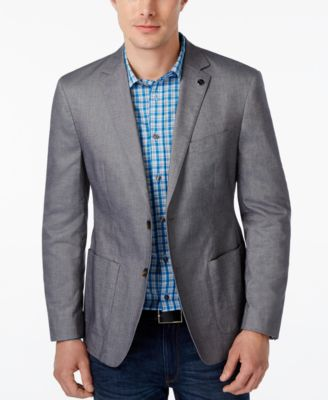 Michael Kors Mens Tailored Fit Chambray Blazer
