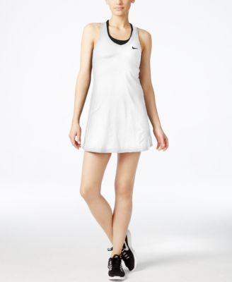 Maria Dri-Fit Pleated Mesh-Paneled Stretch Tennis Dress in White/Black