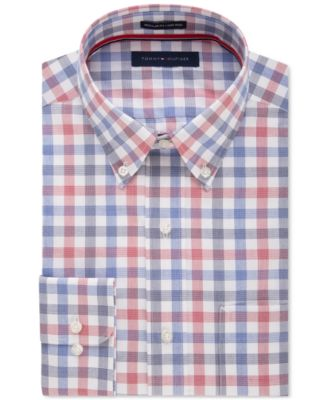 Tommy Hilfiger Mens Classic-Fit Non-Iron Navy Multi-Check Dress Shirt