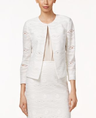 Tahari ASL Open-Front Lace Blazer