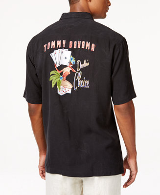 Tommy bahama men 39 s dealer 39 s choice silk embroidered short for Tommy bahama short sleeve silk camp shirt
