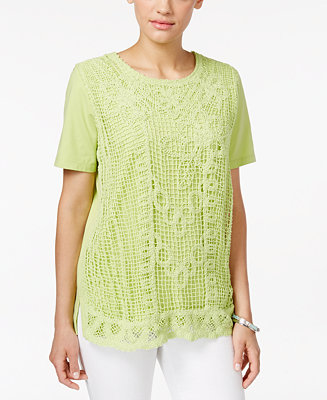 Alfred dunner petite lace front blouse tops women macy 39 s for Alfred dunner wedding dresses