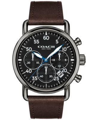 COACH Men's Chronograph Delancey Brown Leather Strap Watch 42mm 14602106