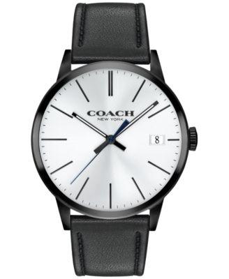 COACH Men's Metropolitan Black Leather Strap Watch 42mm 14602096