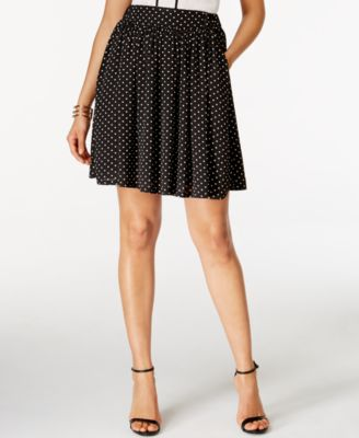 CeCe Dot-Print Fit & Flare Skirt
