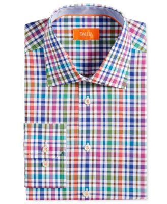 Tallia Mens Fitted Multi-Check Dress Shirt