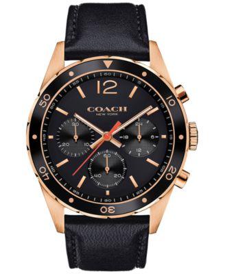 COACH Men's Chronograph Sullivan Sport Black Leather Strap Watch 44mm 14602087