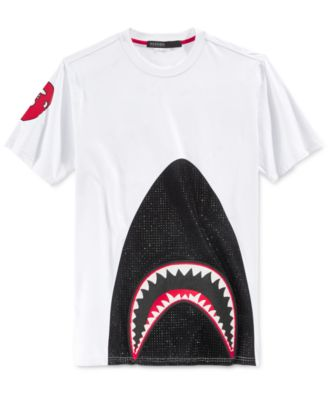 Hudson NYC Mens Black Studded Shark T-Shirt