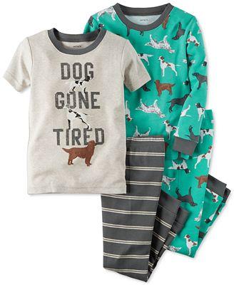 Carter's Toddler Boys' 4-Pc. Dog Gone Tired Pajamas Set ...