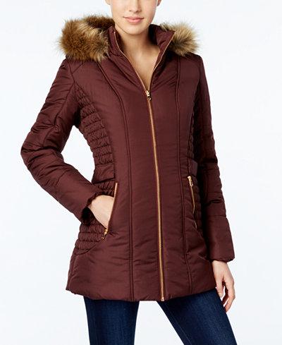 Celebrity Pink Faux Fur Trim Hooded Puffer Coat Coats
