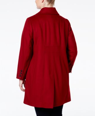 Anne Klein Plus Size Wool-Cashmere Single-Breasted Walker Coat